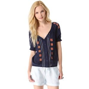 Joie Dolina Dark Navy Orange Embroidered Blouse